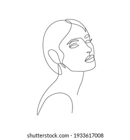 Woman Face Continuous One Line Vector Drawing. Style Template with Abstract Female Face. Modern Minimalist Simple Linear Style. Beauty Fashion Design