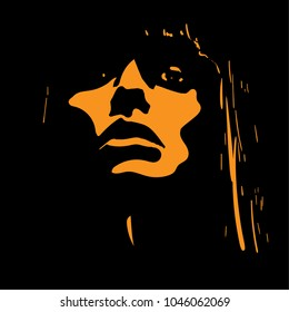 Woman face in contrast light. Vector. Illustration.