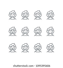 Woman face with different expressions line icons. Female profile outline emoji. Happy, sad, and angry woman vector portraits isolated. Emotion and expression girl illustration