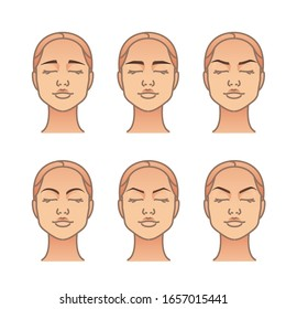 Woman face with different eyebrow forms. Vector illustration set for your design