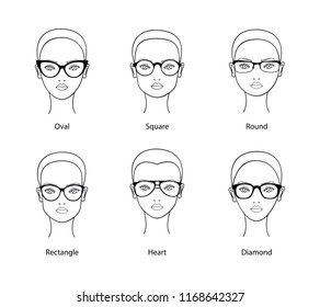 Woman face different shapes wearing glasses. Vector illustration.