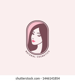 Woman face emblem, logo design. Vector illustration. Girl profile silhouette for organic natural cosmetics, beauty, health and spa. Creative pink female portrait icon with long hair