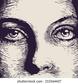 Woman face, engraved style. vector illustration