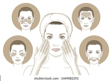 Woman face with eye patch and mask face. Portrait of Beauty Woman with Eye Patches. Woman Face with Mask. Gel patches for the eye area.