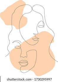 Woman Face With Flower Continuous Line Drawing. One Line Abstract Portrait. Minimalist Woman`s Portrait. Abstract minimalistic linear sketch. Woman's face. Vector hand drawn illustration