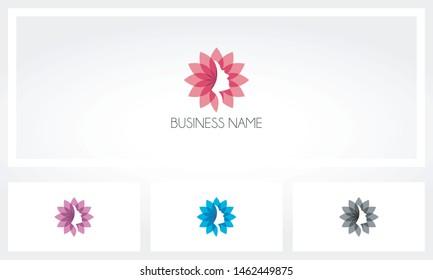 Woman Face Flower Petal Logo
