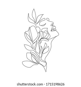 Woman Face With Flowers Continuous Line Drawing. One Line Abstract Portrait. Minimalist Woman Portrait. Contour Face Poster Wall Art Design. Vector EPS 10.