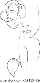 Woman face with flowers one line drawing. Continuous line drawing art. Flower bouquet in woman head single line art. Vector illustration. Nature cosmetics. Minimalist Black White Drawing Artwork.