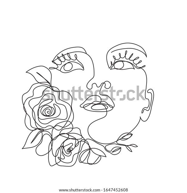 Woman Face Flowers One Line Drawing Stock Vector Royalty Free 1647452608