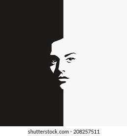 Woman face - half black half white - vector illustration