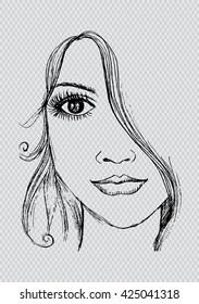 Woman face. Hand drawing illustration.