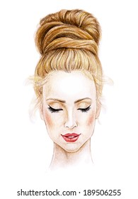 Woman face. Hand painted fashion illustration. Pen?il on textured paper. Vintage style. Vector.