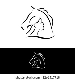 woman face and horse head logo on white made in line art style. vector