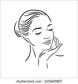 Woman face illustration icon in line style