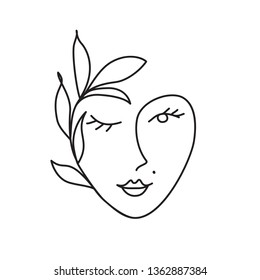 woman face with leaves. Continuous line drawing