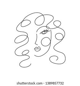 Woman face with leaves. Continuous line drawing. Editable line