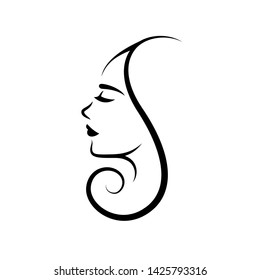 Woman face logo design. Vector illustration. Girl silhouette for cosmetics, beauty, health and spa, fashion themes. Creative female icon with curl hair.