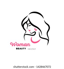 Woman face logo design. Vector illustration. Girl silhouette for cosmetics, beauty, health and spa, fashion themes. Creative female icon with long hair, necklace and earrings.