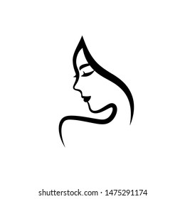 Woman face logo design. Vector illustration. Girl profile silhouette for cosmetics, beauty, health and spa, fashion themes. Creative black female icon with close eyes isolated on white.