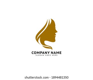 Woman face logo design vector illustration, Girl silhouette for cosmetics, beauty, salon, health and spa, fashion themes