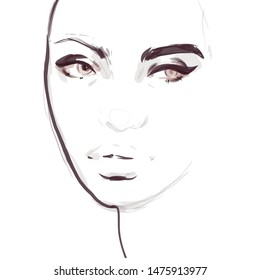 Woman face makeup fashion sketch. Hand drawn illustration.