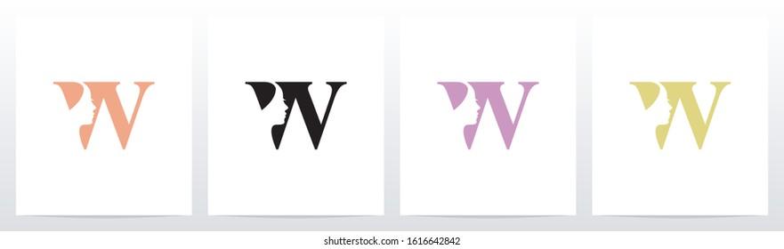 Woman Face On Letter Logo Design W