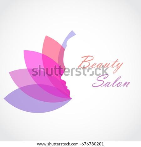 Woman face on light color lotus stock vector royalty free woman face on light color lotus flower shape beauty salon logo mightylinksfo