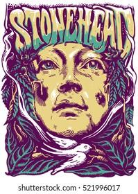 Woman  face on the marijuana background. Graphic illustration. Poster. T-shirt design. Clothing art. .