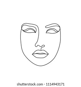 woman face one line drawing. Portrait minimalistic style