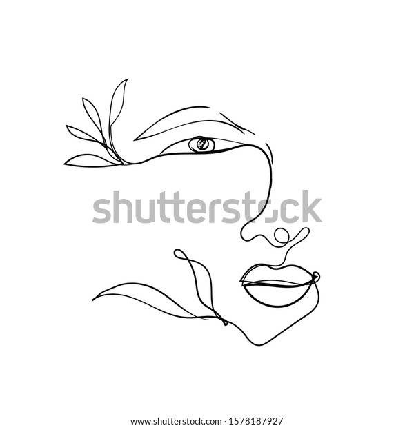 Woman Face One Line Drawing Design Stock Vector Royalty Free 1578187927