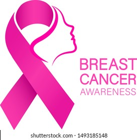 Woman face in pink ribbon. Breast Cancer Awareness Month Campaign. Icon design for poster, banner, t-shirt. Illustration isolated on white background.