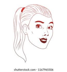 Woman face pop art cartoon red lines