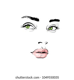Woman face. Portrait. Outlines. Digital Sketch Hand Drawing Vector. Illustration.