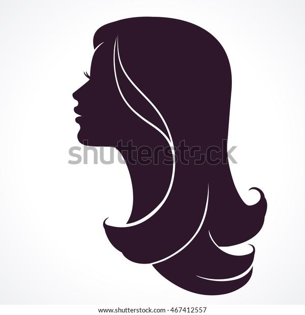 Profil de la femme. Silhouette de tête féminine. Cheveux longs