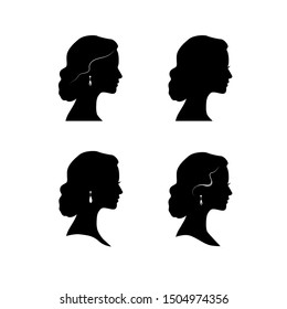 Woman face profile silhouette. Women hairstyle drawn icon set.  Lady portrait in retro style