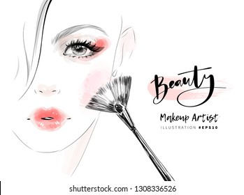 Woman face with red lips and beautiful eye makeup vector fashion illustration. Hand drawn line art sketch for cosmetic products sale banner background design, make up artist business card template.