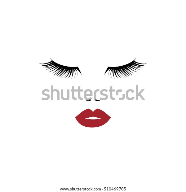 Woman Face Red Lips Beauty Logo Stock Vector (Royalty Free