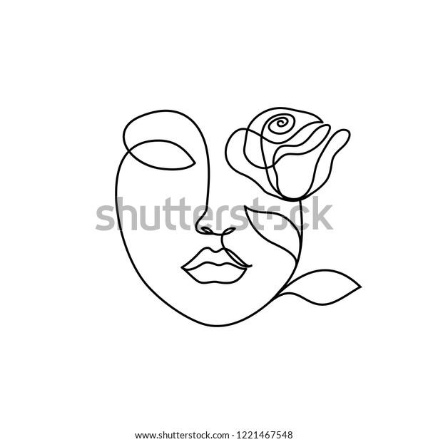 woman face with rose flower. Continuous line drawing