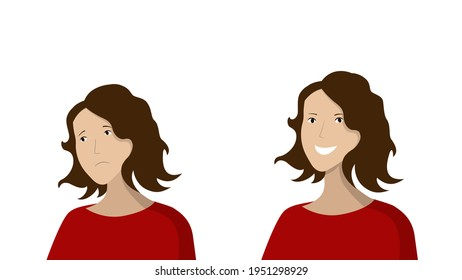 woman face sad and happy. Before and after reaction of a human mood. Character design. Flat vestor illustration
