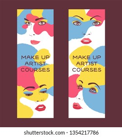 Woman face set of banners vector illustration. Beauty design for salon, make up artist courses training. Cosmetic products, professional care. School for beautician. Masterclass.