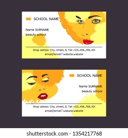 Woman face set of business card vector illustration. Beauty design for salon, make up artist courses training. Cosmetic products, professional care. School for beautician. Masterclass.