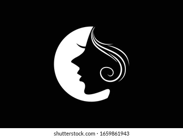 Woman face in a shape of moon vector, Beauty and spa logo concept