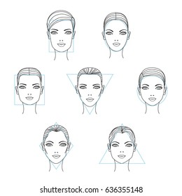 Woman face shapes and types. Vector illustration.