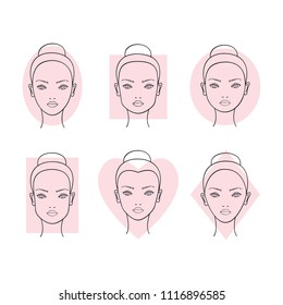 Woman face shapes. vector