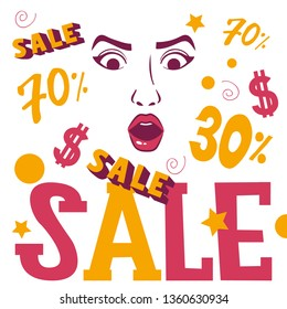 Woman face shopping sale banner vector illustration. Beauty design for salon, make up artist courses training sale. Cosmetic products, professional care. School for beautician. Masterclass.