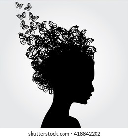 Woman face side view with butterfly vector.