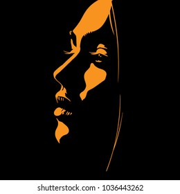 Woman face silhouette in backlight. Vector.