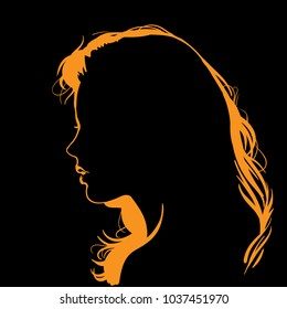 Woman face silhouette in backlight. Vector. Illustration