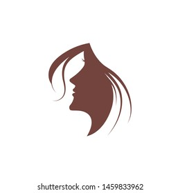 Woman face silhouette character illustration logo icon vector