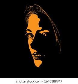 Woman Face silhouette in contrast backlight. Vector. Illustration.